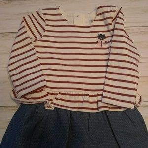 Jean Bourget striped cat red,white&blue dress